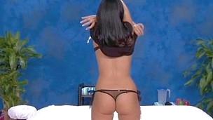 Sexy brunette hair Tiffany bonks and sucks her rub-down therapist