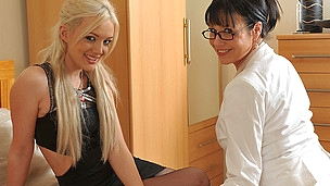 Sinless blond sweetheart doing a wicked older lesbo