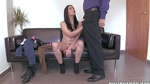 Naked and pretty slut in socks is here to have gangbang