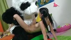Hawt dark brown hair chick fucking with kind Panda bear