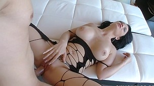 Entrancing and cute latina babe is railing on his massive penis