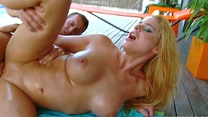 Insane and sexy chick Cathy Heaven is riding on his erection