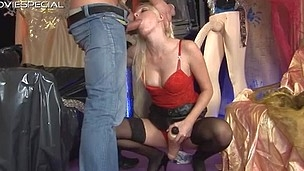 Sexy golden-haired whore gets a good face fucking
