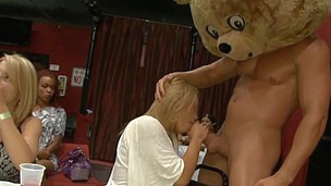 Amateur sweethearts are giving blowjob to athletic guys