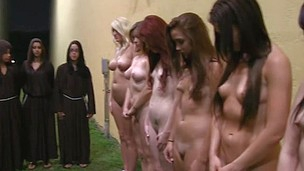 Group of lesbian sexy babes are going crazy while gathered for pussy pleasing